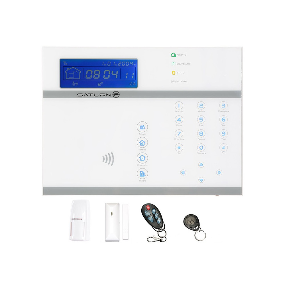 Allarme casa wireless Saturn ip combinatore gsm e connessione ad internet web server tag rfid